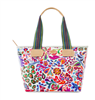 oilcloth tote with striped web handles and leather trim