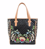 Consuela Classic tote, black quilted with floral embroidery