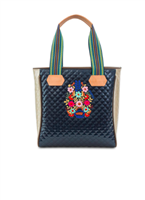 midnight iridescent quilted tote with striped web handles and leather trim