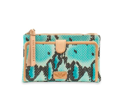 Women's oilcloth slim wallet in turquoise snakeskin
