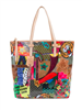 ladies oil cloth tote in patches print tote with leather trim handles