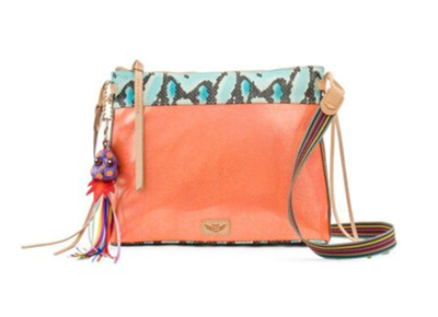 ladies waxed canvas cross body bag in orange metallic with snake print and leather trim