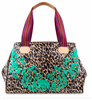 blue jag with floral embroidery grand tote with striped web handles and leather trim