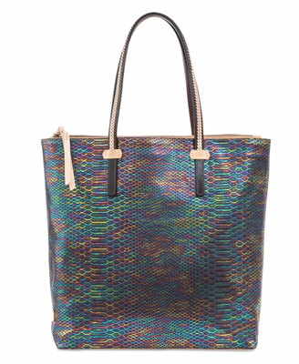 ladies oil cloth tote in sirena print tote with leather trim handles