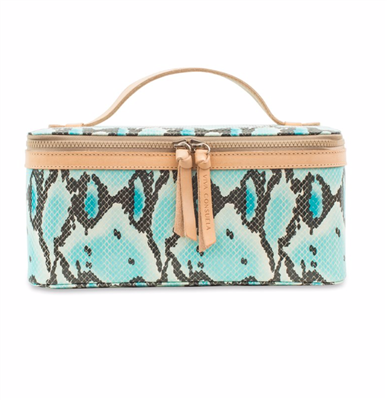 Women's oilcloth train case in turquoise snakeskin.