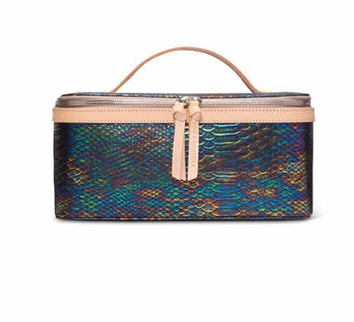 Consuela  Women's oilcloth train case in metallic snake print