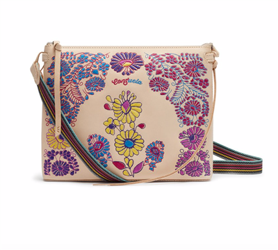 Ladies leather crossbody handbag with embroidery