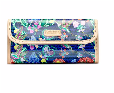 Women's oilcloth clutch handbag in floral print.