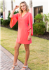 Women's coral dress with 3/4 sleeves