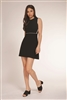 Women's black knit sleeveless a-line dress with white contrast trim
