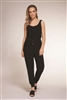 Women's black knit jumpsuit with elastic waist