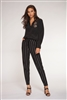 Women's black soft drawstring pants with white stripe