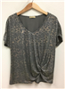 ladies short sleeve animal print side knot top