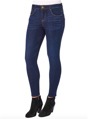 Women's High rise ankle length j5 pocket jeans in indigo blue