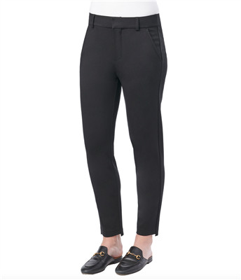 women's black high rise step hem trousers