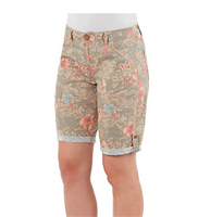 ladies floral long shorts with a side snap to cuff