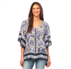 ladies blue and white floral top with kimono sleeves and tassel detail