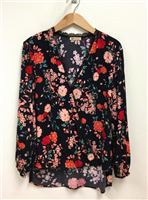 ladies plus size floral print long sleeve surplice top with lace detail