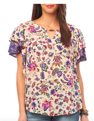 ladies plus size short sleeve floral top with ruffle sleeve
