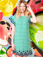 green and white gingham dress with navy eyelet embroidery tim