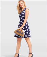 navy cotton/spandex sleeveless navy dress with blue and white stripe in stars