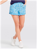 Light blue polyester shorts with vines of flowers, hidden side zipper, slant front pockets and ruffle hems