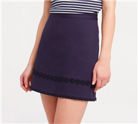 navy cotton aline skirt with floral hem