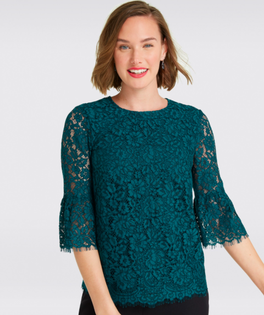 7982a6eb2c9 Draper James Lace Bell Sleeve Blouse - Holiday Clothing - Dressy ...