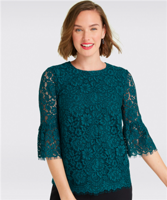 ladies dark teal lace bell sleeve blouse