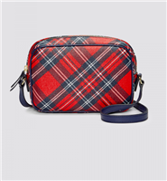 plaid cross body bag with navy strap