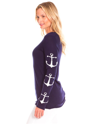 women spring sweater in navy with a white anchors on the sleeve
