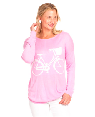 women spring sweater in orchid with a white bicycle on the front