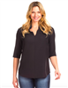 women's black 3/4 sleeve blouse with flutter neck detail