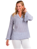 women long sleeve v-neck seersucker top with a flare sleeve