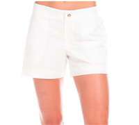 ladies white cotton seersucker shorts with flat front and pockets with a 4 inch inseam