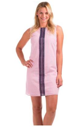 Ladies Sleeveless Pink Seersucker Shift Dress Sizes Small To Xl