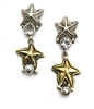 Dangle pierced earrings with both bronze and silver starfish with white topaz and pearl details