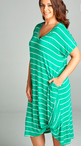 db5c7d937fa green and white stripe jersey midi dress with side twist detail
