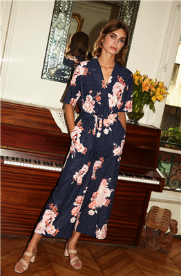 FRNCH Magalie Navy Floral Jumpsuit