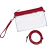 clear vinyl cross body bag with red PVC trim