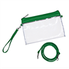 clear vinyl cross body bag with green pvc trim