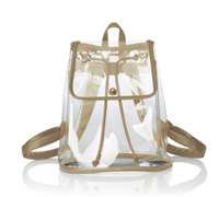 clear vinyl backpack with gold trim