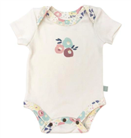 Cream baby short sleeve bodysuit with muted colored flower trim