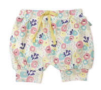 muted shades of wildflowers pull on shorts with elastic waist and yellow faux drawstring