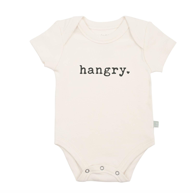 Baby cotton onesie that says Hangry on the front.