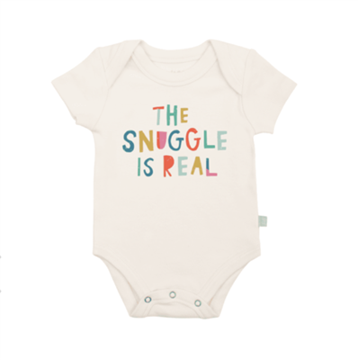 "Baby cotton onesie that says ""The Snuggle is Real"" on the front."