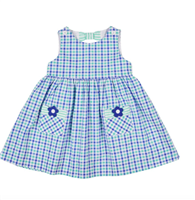 baby blue and green gingham sundress with flower details on the front pockets