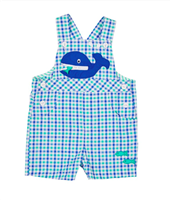 baby blue and green gingham shortall with whale detail on the front