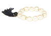 faux pearl stretch bracelet with navy beaded tassel