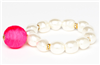 faux pearl stretch bracelet with pink fabric ball charm